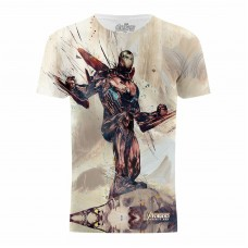 Avengers Infinity War Iron Man Battle Stance White Mens T-Shirt